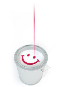 Paint bucket with smiling face